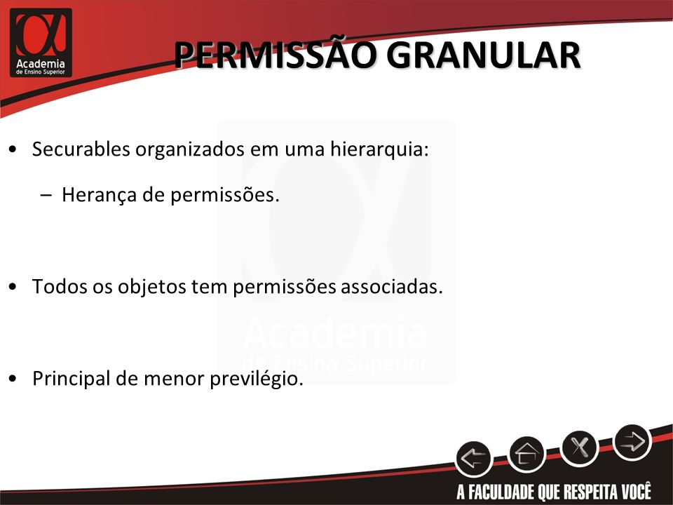 PERMISSÃO GRANULAR Securables organizados em uma hierarquia: –Herança de permissões. Todos os objetos tem permissões associadas. Principal de menor pr