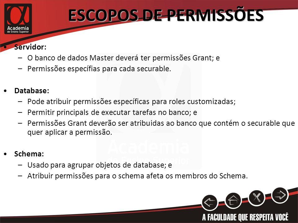 ESCOPOS DE PERMISSÕES Servidor: –O banco de dados Master deverá ter permissões Grant; e –Permissões específias para cada securable. Database: –Pode at