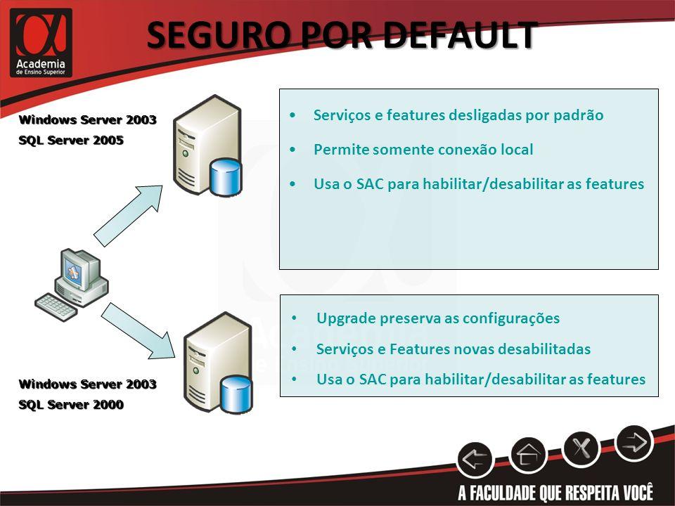 SEGURO POR DEFAULT Serviços e features desligadas por padrão Permite somente conexão local Usa o SAC para habilitar/desabilitar as features Upgrade pr