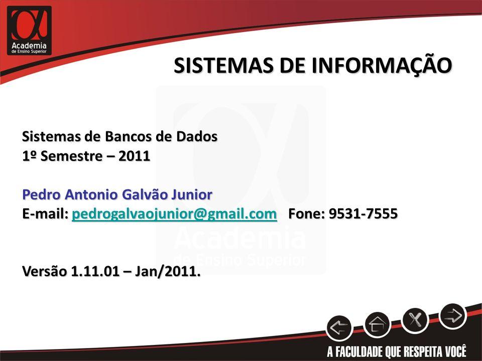 SISTEMAS DE INFORMAÇÃO Sistemas de Bancos de Dados 1º Semestre – 2011 Pedro Antonio Galvão Junior E-mail: pedrogalvaojunior@gmail.com Fone: 9531-7555 pedrogalvaojunior@gmail.com Versão 1.11.01 – Jan/2011.