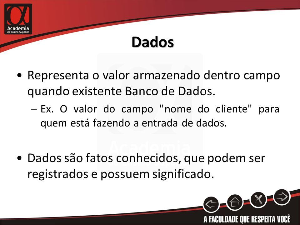 Dados Representa o valor armazenado dentro campo quando existente Banco de Dados.