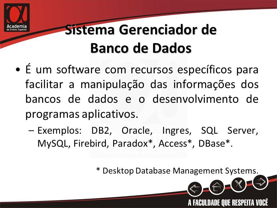 Sistema Gerenciador de Banco de Dados É um software com recursos específicos para facilitar a manipulação das informações dos bancos de dados e o desenvolvimento de programas aplicativos.