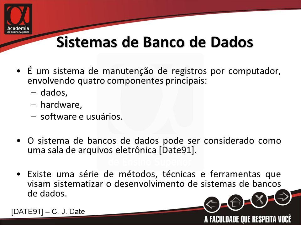 Sistemas de Banco de Dados Sistemas de Banco de Dados É um sistema de manutenção de registros por computador, envolvendo quatro componentes principais: –dados, –hardware, –software e usuários.