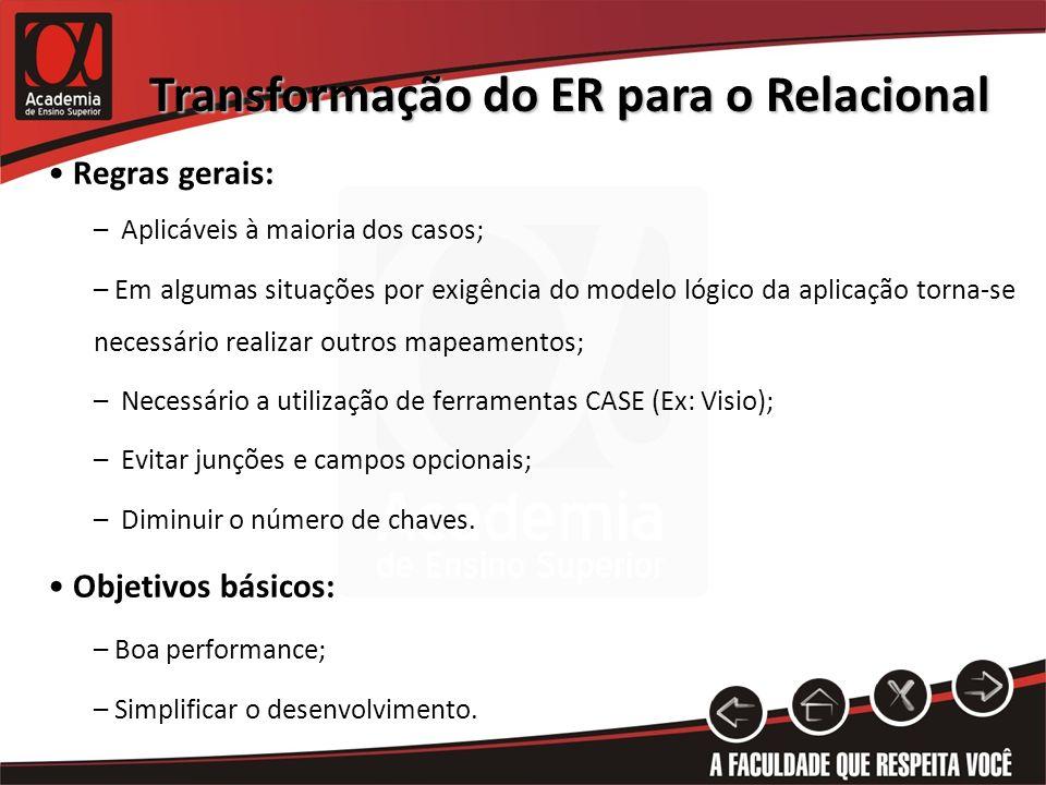 Transformação do ER para o Relacional Regras gerais: – Aplicáveis à maioria dos casos; – Em algumas situações por exigência do modelo lógico da aplica