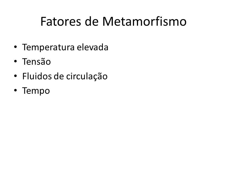 Fatores de Metamorfismo Temperatura elevada Tensão Fluidos de circulação Tempo