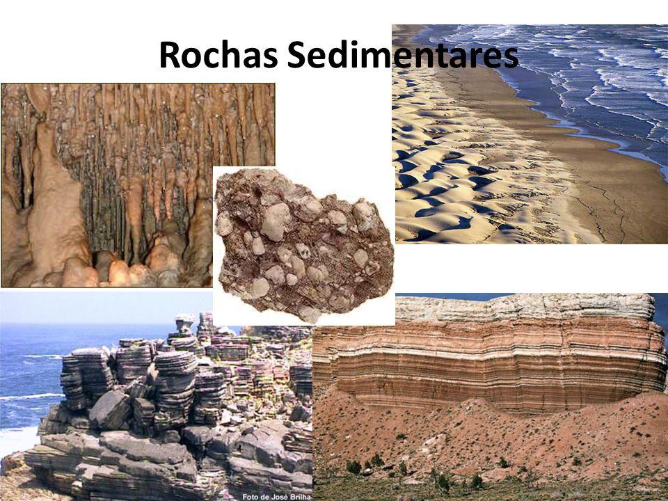 Génese Etapas Sedimentogénese – Formação de sedimentos Meteorização, erosão, transporte, sedimentação Diagénese – Formação da rocha