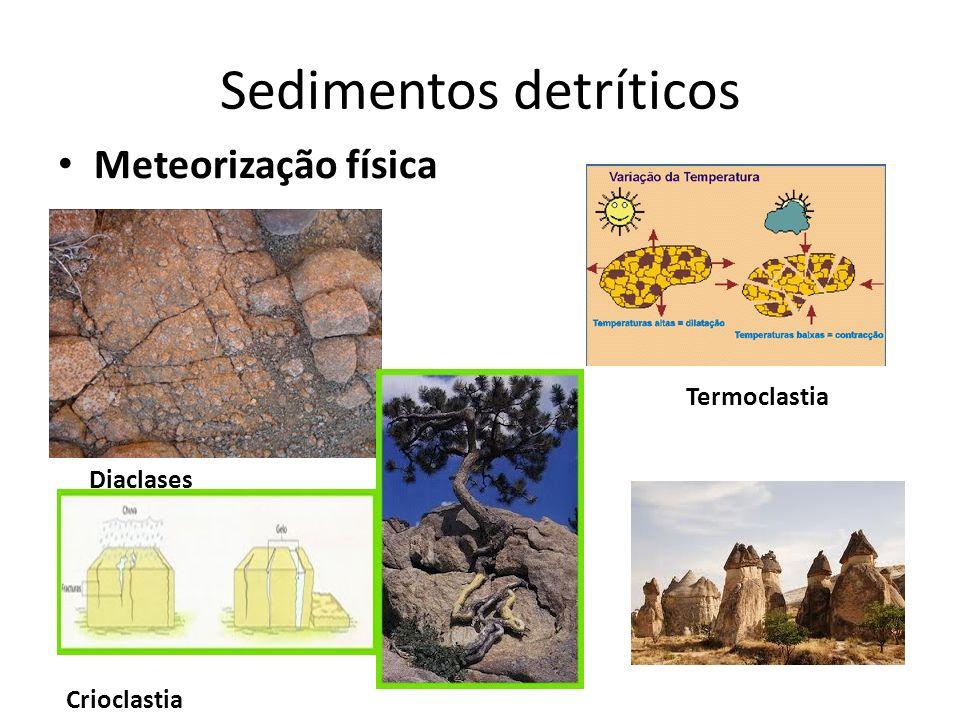 Sedimentos detríticos Meteorização física Diaclases Crioclastia Termoclastia