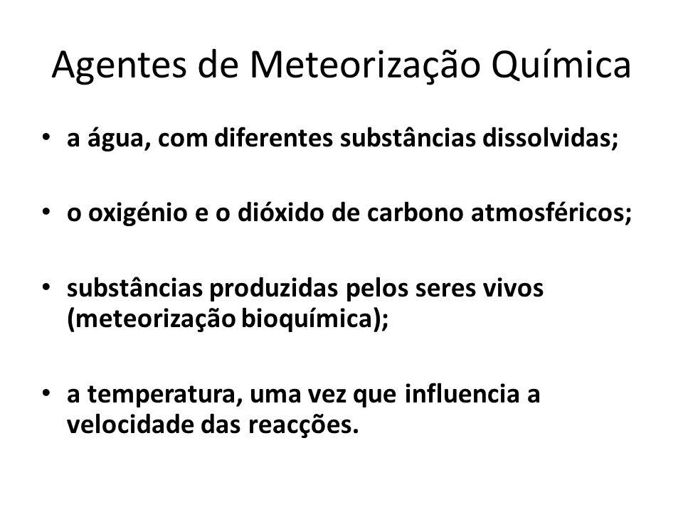 Agentes de Meteorização Química a água, com diferentes substâncias dissolvidas; o oxigénio e o dióxido de carbono atmosféricos; substâncias produzidas