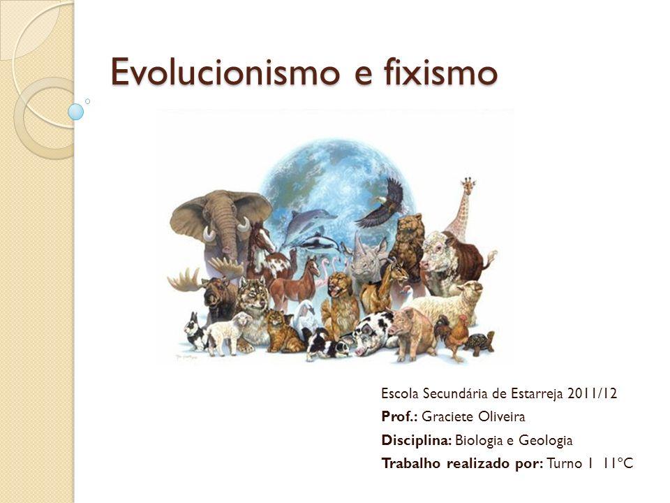 Evolucionismo e fixismo Escola Secundária de Estarreja 2011/12 Prof.: Graciete Oliveira Disciplina: Biologia e Geologia Trabalho realizado por: Turno