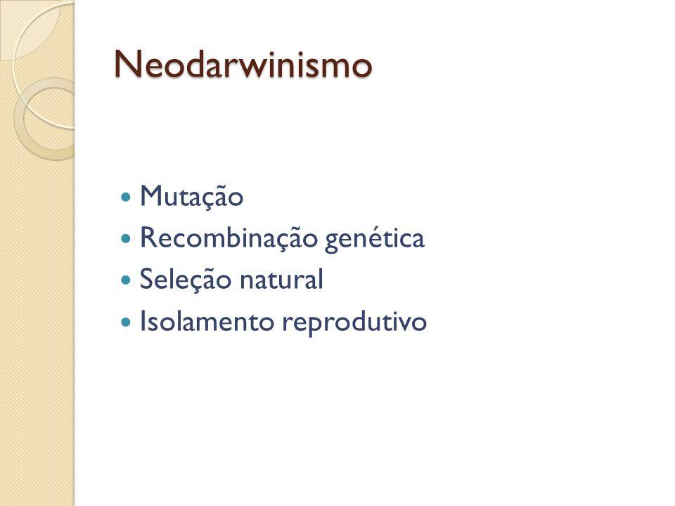 Neodarwinismo Mutação Recombinação genética Seleção natural Isolamento reprodutivo