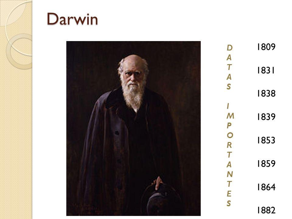 Darwin 1809 1831 1838 1839 1853 1859 1864 1882 DATASIMPORTANTESDATASIMPORTANTES