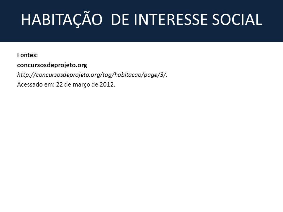Fontes: concursosdeprojeto.org http://concursosdeprojeto.org/tag/habitacao/page/3/. Acessado em: 22 de março de 2012.