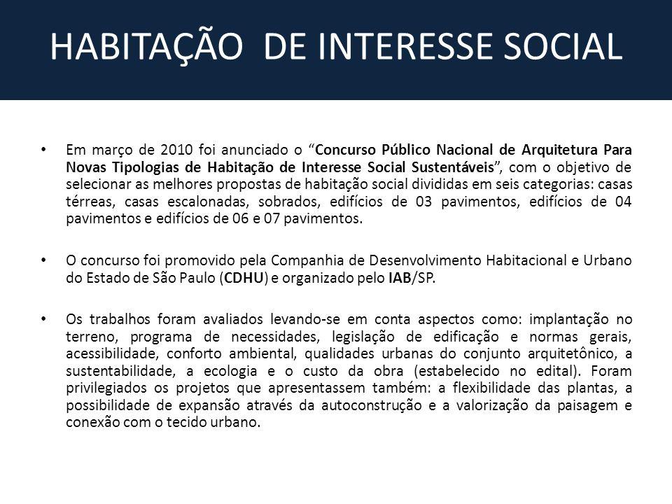 HABITAÇÃO DE INTERESSE SOCIAL Em março de 2010 foi anunciado o Concurso Público Nacional de Arquitetura Para Novas Tipologias de Habitação de Interess