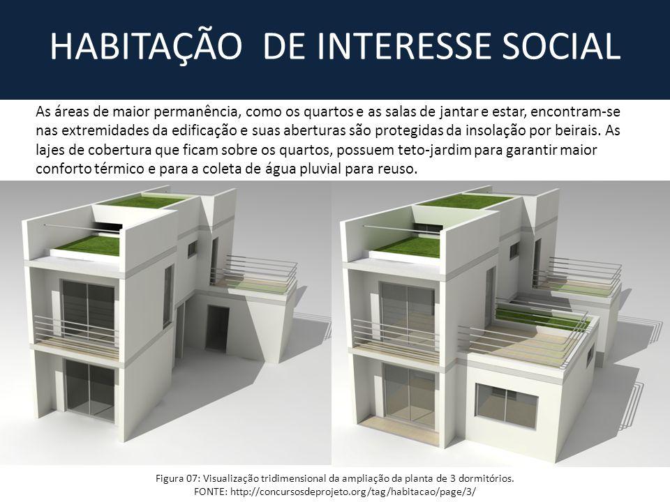 Figura 07: Visualização tridimensional da ampliação da planta de 3 dormitórios. FONTE: http://concursosdeprojeto.org/tag/habitacao/page/3/ HABITAÇÃO D