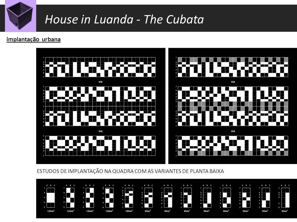 implantação urbana ESTUDOS DE IMPLANTAÇÃO NA QUADRA volumetria espacialidade escala House in Luanda - The Cubata