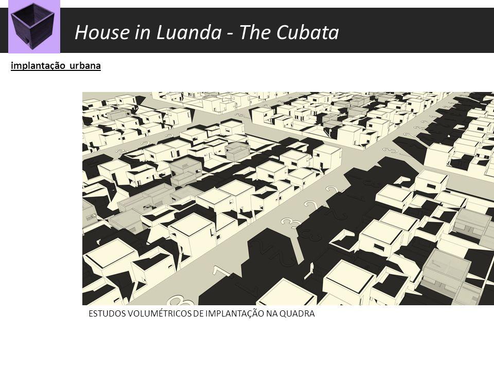 implantação urbana ESTUDOS VOLUMÉTRICOS DE IMPLANTAÇÃO NA QUADRA House in Luanda - The Cubata
