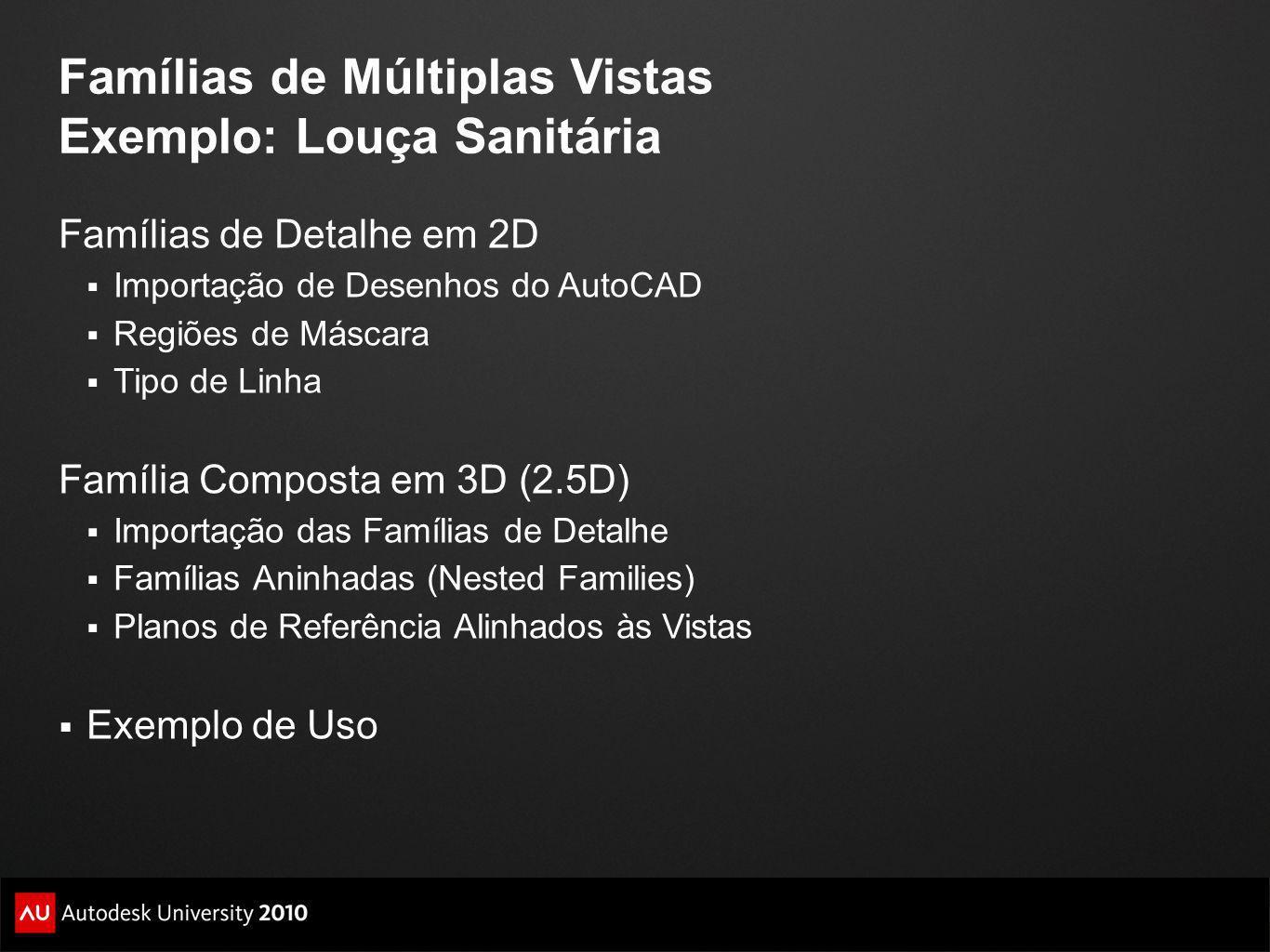 Famílias de Múltiplas Vistas Exemplo: Louça Sanitária Famílias de Detalhe em 2D Importação de Desenhos do AutoCAD Regiões de Máscara Tipo de Linha Fam