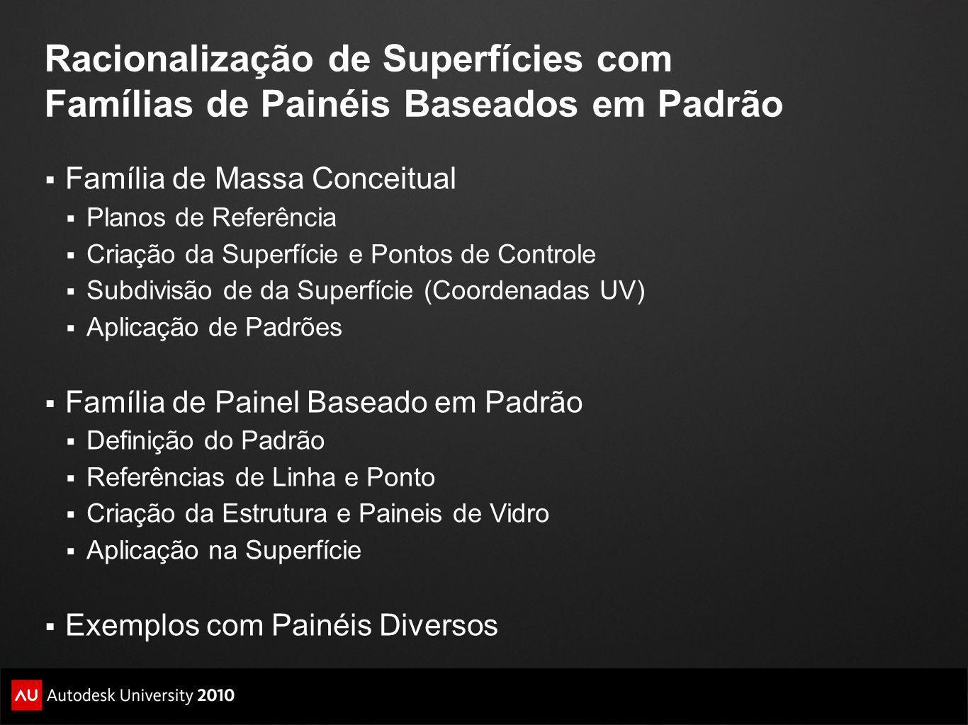 Racionalização de Superfícies com Famílias de Painéis Baseados em Padrão Família de Massa Conceitual Planos de Referência Criação da Superfície e Pont