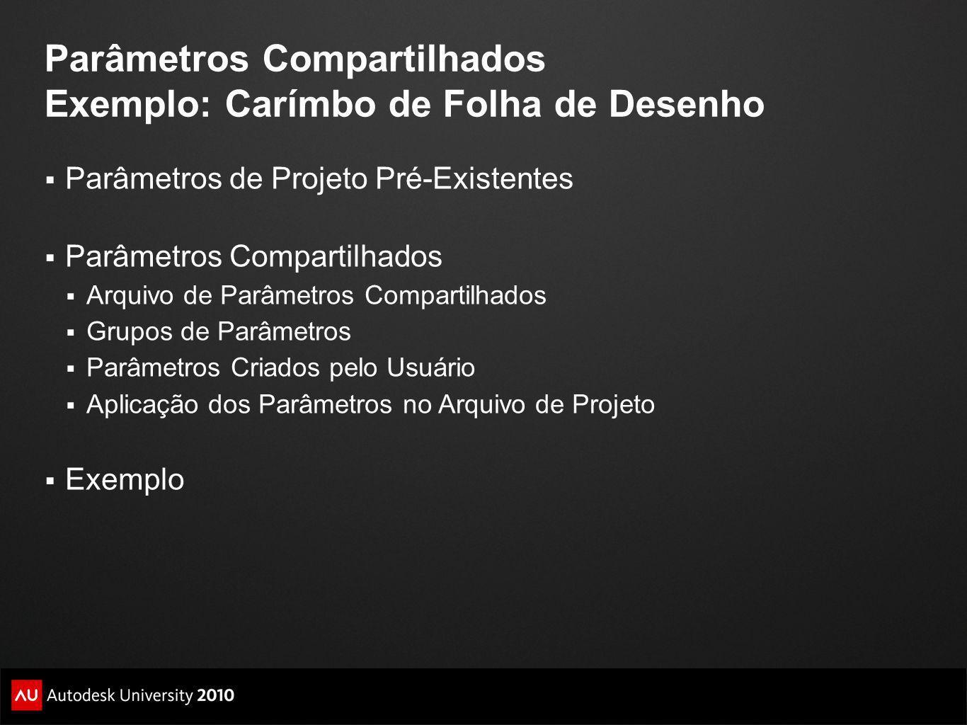 Parâmetros Compartilhados Exemplo: Carímbo de Folha de Desenho Parâmetros de Projeto Pré-Existentes Parâmetros Compartilhados Arquivo de Parâmetros Co