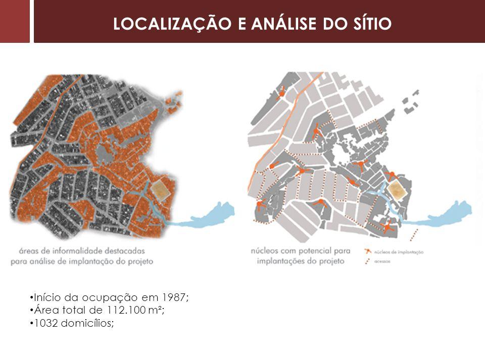 Início da ocupação em 1987; Área total de 112.100 m²; 1032 domicílios; LOCALIZAÇÃO E ANÁLISE DO SÍTIO