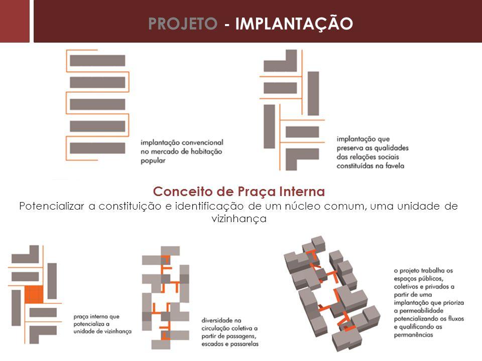 Conceito de Praça Interna Potencializar a constituição e identificação de um núcleo comum, uma unidade de vizinhança PROJETO - IMPLANTAÇÃO