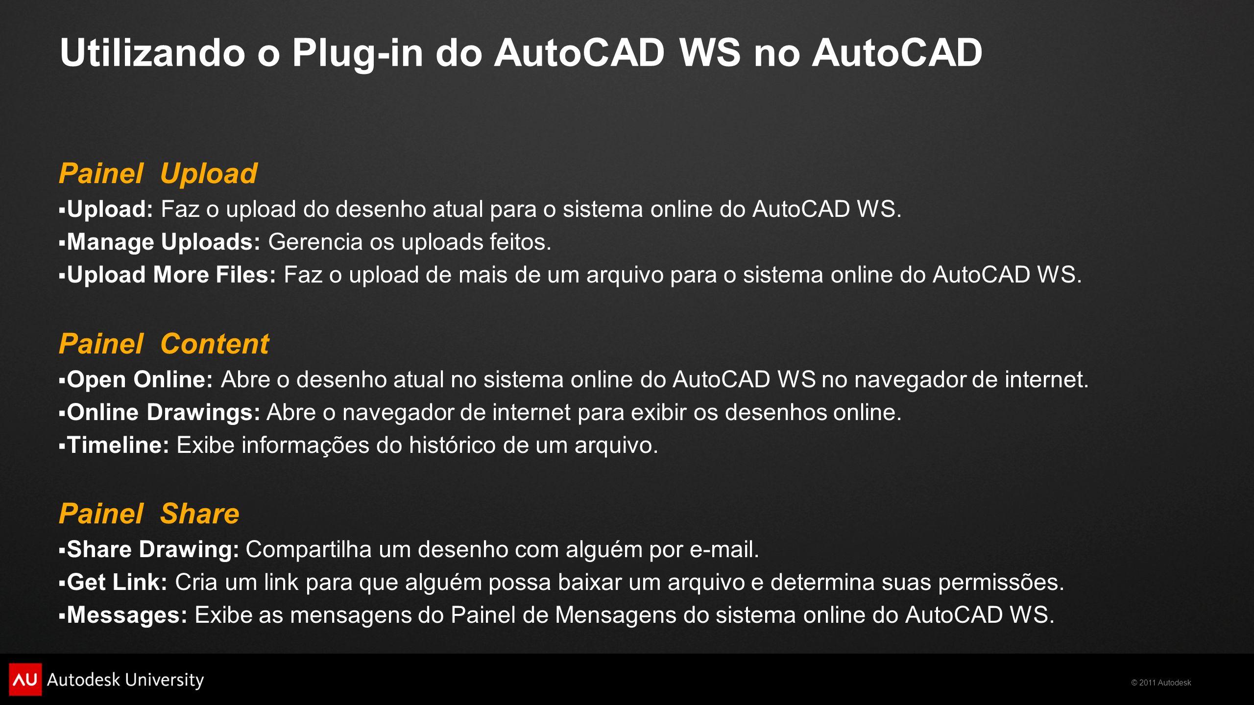 © 2011 Autodesk Utilizando o Plug-in do AutoCAD WS no AutoCAD Painel Upload Upload: Faz o upload do desenho atual para o sistema online do AutoCAD WS.