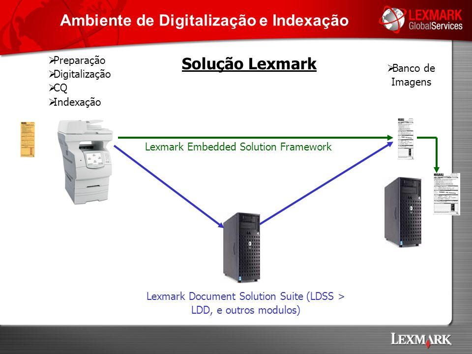 Preparação Digitalização CQ Indexação Banco de Imagens Lexmark Embedded Solution Framework Lexmark Document Solution Suite (LDSS > LDD, e outros modul