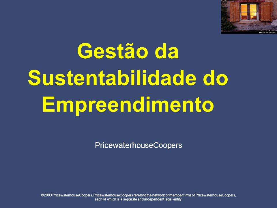 1.Governança e Engajamento Governança & Gestão Engajamento de Partes Interessadas 2.Foco Ambiental Melhoria do Processo Ambiental Produtos e Serviços Ambientais 3.Desenvolvimento Sócio-Econômico Crescimento Econômico Local Desenvolvimento da Comunidade Gestão de Recursos Humanos Fatores de Sustentabilidade Modelo Sistêmico de Criação de Valor PricewaterhouseCoopers