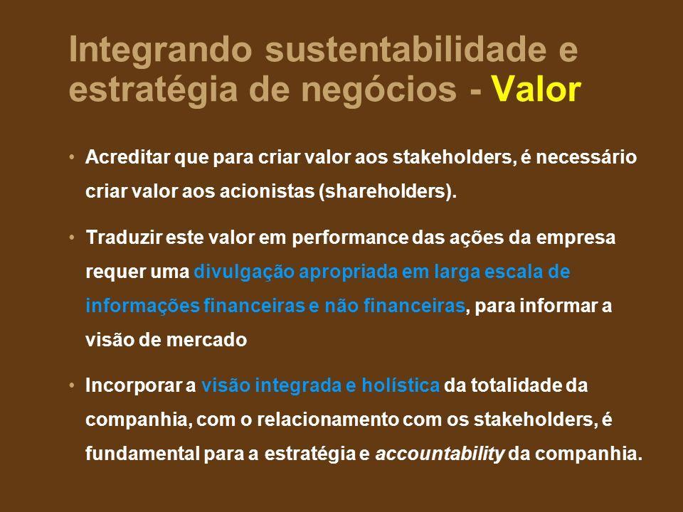 Integrando sustentabilidade e estratégia de negócios - Valor Acreditar que para criar valor aos stakeholders, é necessário criar valor aos acionistas (shareholders).