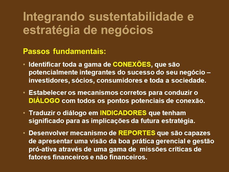 Integrando sustentabilidade e estratégia de negócios Passos fundamentais: Identificar toda a gama de CONEXÕES, que são potencialmente integrantes do sucesso do seu negócio – investidores, sócios, consumidores e toda a sociedade.