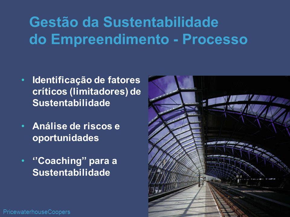 Identificação de fatores críticos (limitadores) de Sustentabilidade Análise de riscos e oportunidades Coaching para a Sustentabilidade Gestão da Sustentabilidade do Empreendimento - Processo PricewaterhouseCoopers
