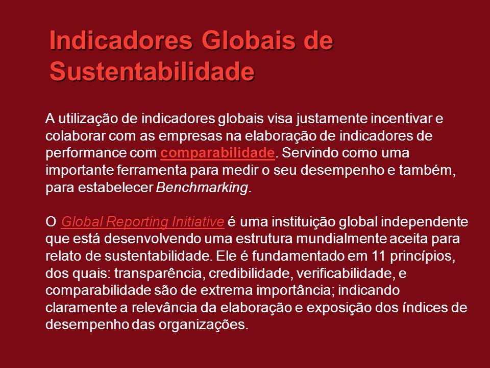 Indicadores Globais de Sustentabilidade A utilização de indicadores globais visa justamente incentivar e colaborar com as empresas na elaboração de indicadores de performance com comparabilidade.