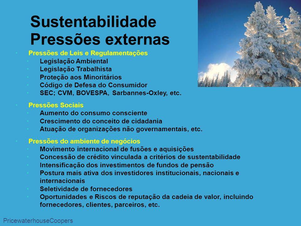 Pressões de Leis e Regulamentações Legislação Ambiental Legislação Trabalhista Proteção aos Minoritários Código de Defesa do Consumidor SEC; CVM, BOVESPA, Sarbannes-Oxley, etc.
