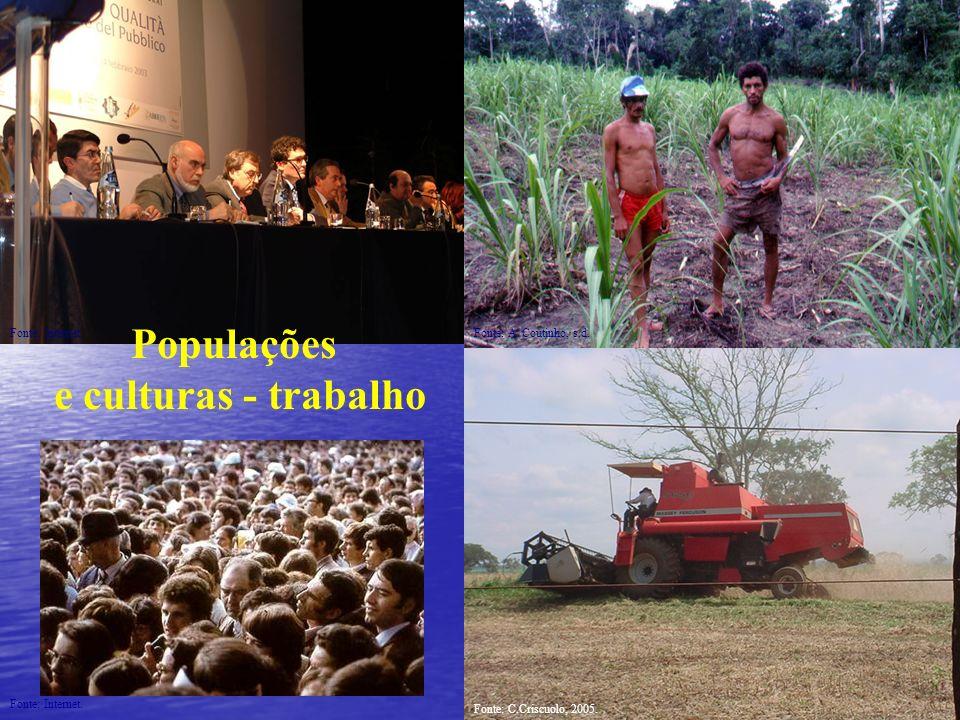 Populações e culturas - trabalho Fonte: Internet. Fonte: C.Criscuolo, 2005. Fonte: A. Coutinho, s.d.Fonte: Internet.