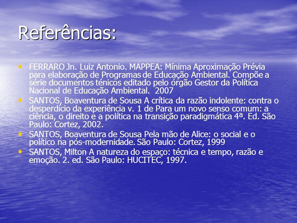 Referências: FERRARO Jn. Luiz Antonio. MAPPEA: Mínima Aproximação Prévia para elaboração de Programas de Educação Ambiental. Compõe a série documentos