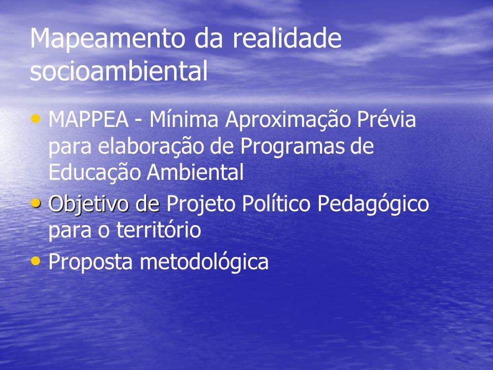 Mapeamento da realidade socioambiental MAPPEA - Mínima Aproximação Prévia para elaboração de Programas de Educação Ambiental Objetivo de Objetivo de P