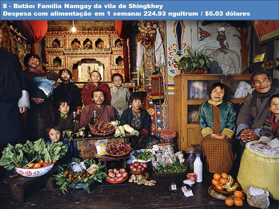 8 - Butão: Família Namgay da vila de Shingkhey Despesa com alimentação em 1 semana: 224.93 ngultrum / $5.03 dólares