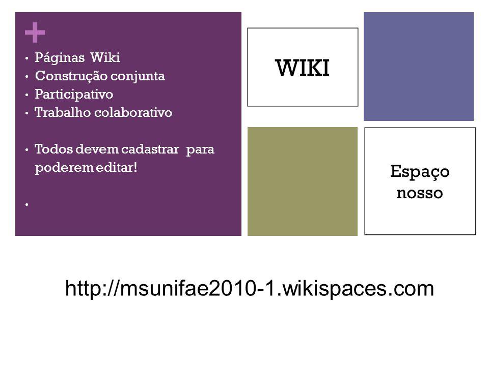 + Páginas Wiki Construção conjunta Participativo Trabalho colaborativo Todos devem cadastrar para poderem editar! WIKI Espaço nosso http://msunifae201