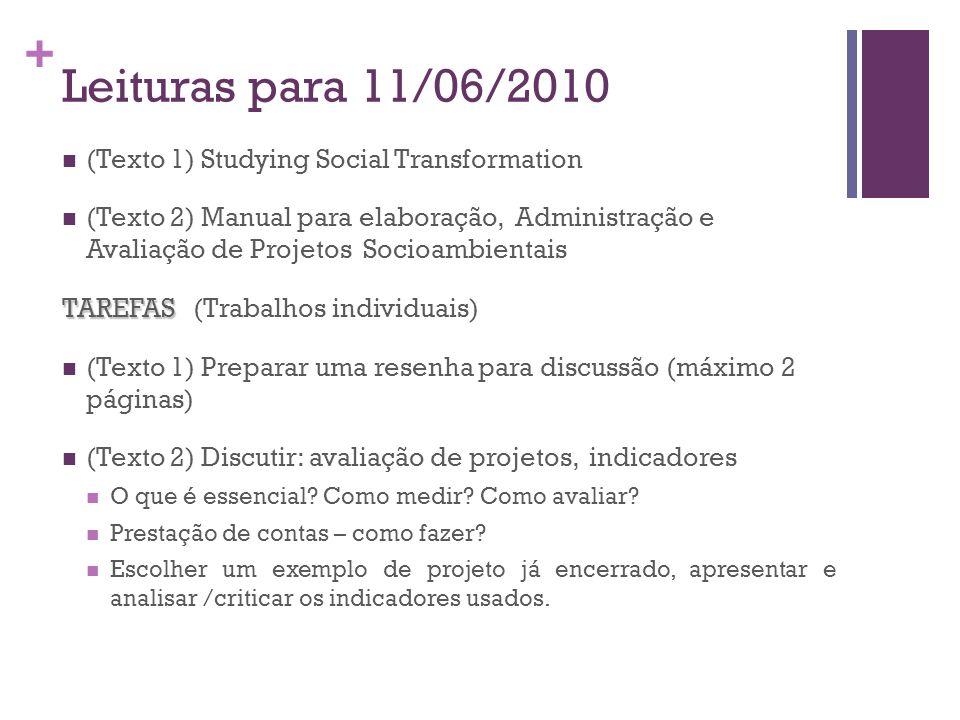 + Leituras para 11/06/2010 (Texto 1) Studying Social Transformation (Texto 2) Manual para elaboração, Administração e Avaliação de Projetos Socioambie