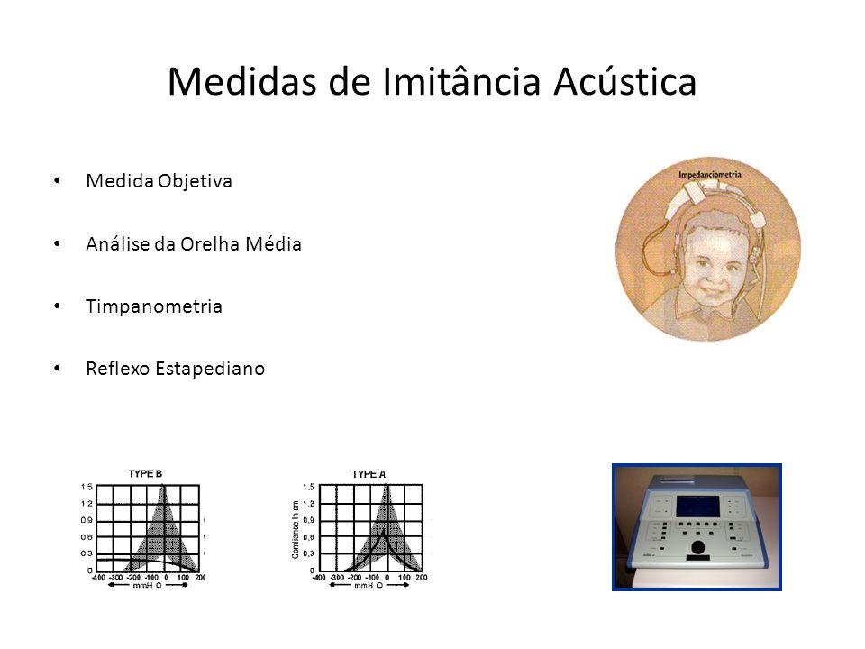 Medidas de Imitância Acústica Medida Objetiva Análise da Orelha Média Timpanometria Reflexo Estapediano