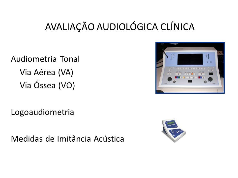 AVALIAÇÃO AUDIOLÓGICA CLÍNICA Audiometria Tonal Via Aérea (VA) Via Óssea (VO) Logoaudiometria Medidas de Imitância Acústica
