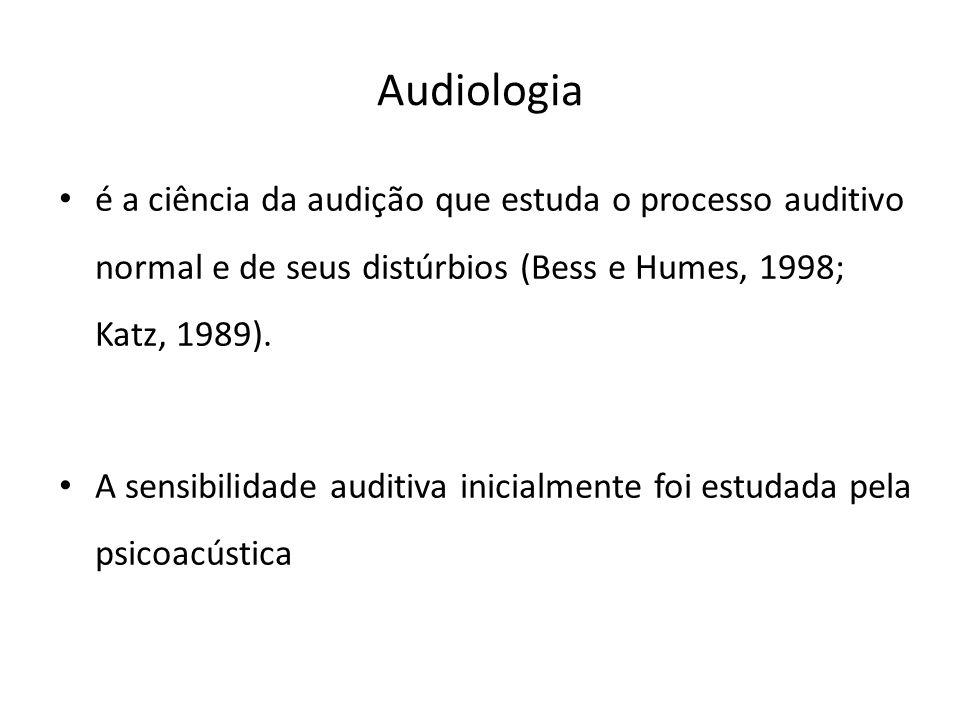 Audiologia é a ciência da audição que estuda o processo auditivo normal e de seus distúrbios (Bess e Humes, 1998; Katz, 1989). A sensibilidade auditiv