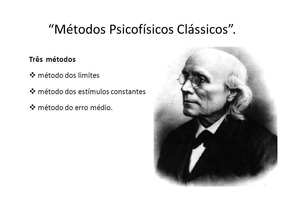 Métodos Psicofísicos Clássicos. Três métodos método dos limites método dos estímulos constantes método do erro médio.