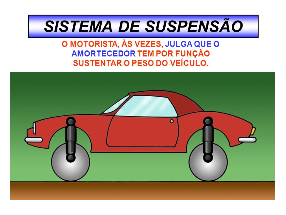 SISTEMA DE SUSPENSÃO O MOTORISTA, ÀS VEZES, JULGA QUE O AMORTECEDOR TEM POR FUNÇÃO SUSTENTAR O PESO DO VEÍCULO.