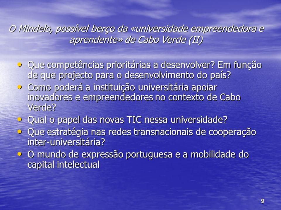 9 O Mindelo, possível berço da «universidade empreendedora e aprendente» de Cabo Verde (II) Que competências prioritárias a desenvolver.