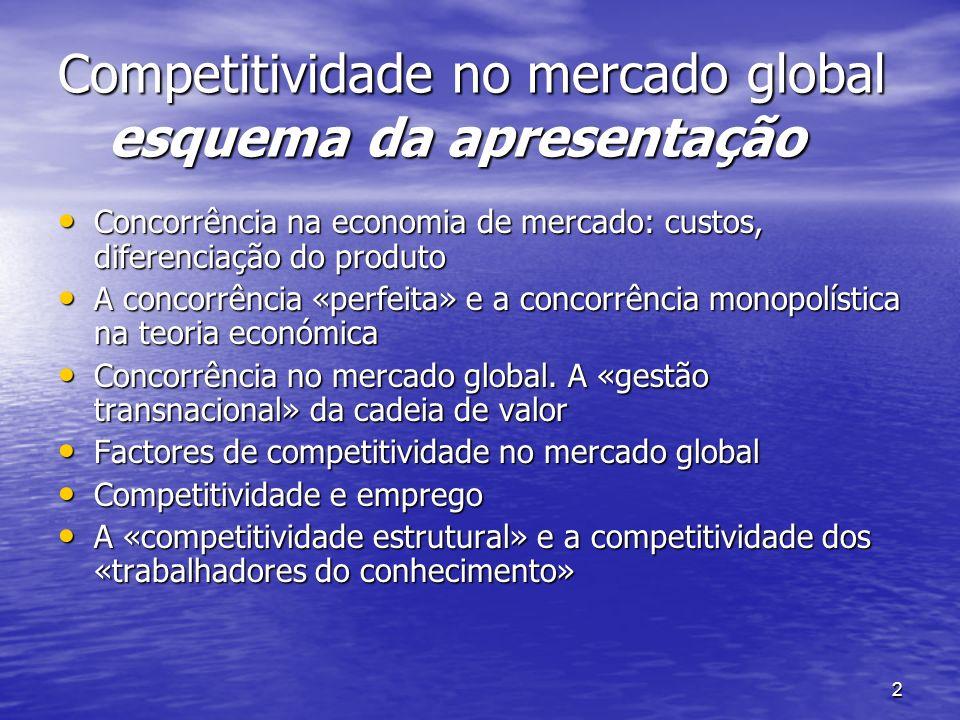 2 Competitividade no mercado global esquema da apresentação Concorrência na economia de mercado: custos, diferenciação do produto Concorrência na econ