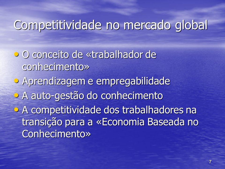 7 Competitividade no mercado global O conceito de «trabalhador de conhecimento» O conceito de «trabalhador de conhecimento» Aprendizagem e empregabili
