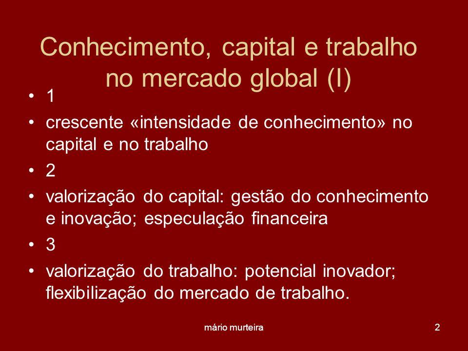 mário murteira2 Conhecimento, capital e trabalho no mercado global (I) 1 crescente «intensidade de conhecimento» no capital e no trabalho 2 valorizaçã