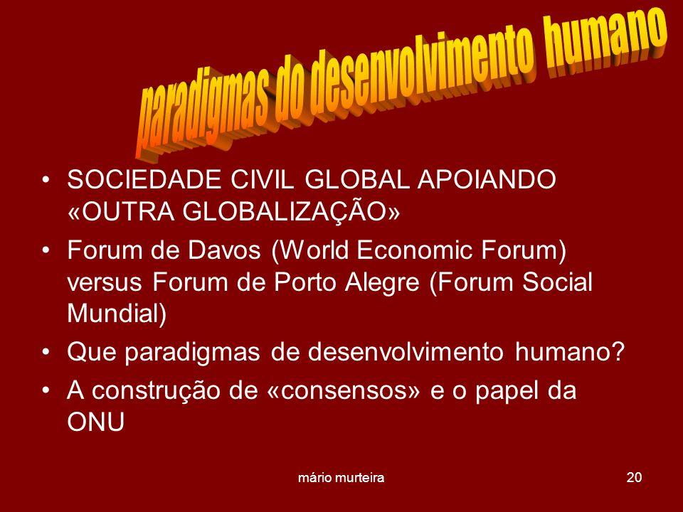 mário murteira20 SOCIEDADE CIVIL GLOBAL APOIANDO «OUTRA GLOBALIZAÇÃO» Forum de Davos (World Economic Forum) versus Forum de Porto Alegre (Forum Social