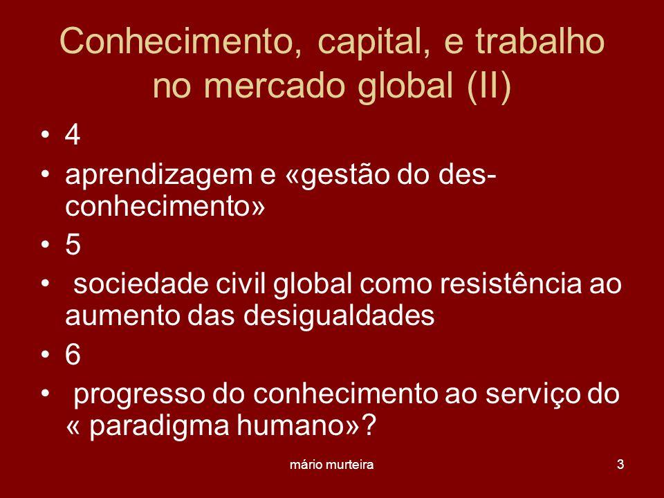 mário murteira3 Conhecimento, capital, e trabalho no mercado global (II) 4 aprendizagem e «gestão do des- conhecimento» 5 sociedade civil global como